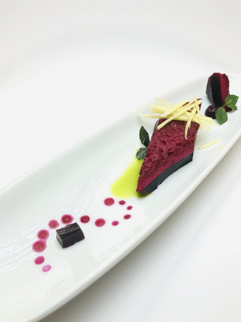 1. Beet marshmallow with French goat cheese and fine, crunchy, pressed brusketa.