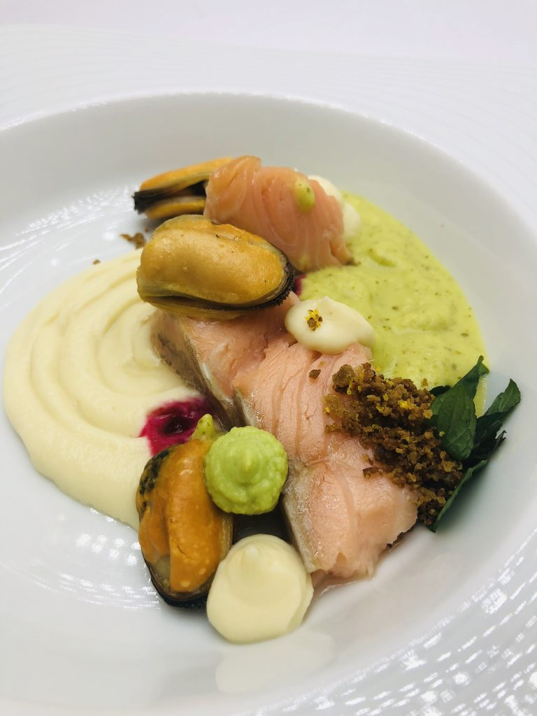 3. Sous vide salmon steak with mussels, celery mousseline and green pea sauce with fresh mint.