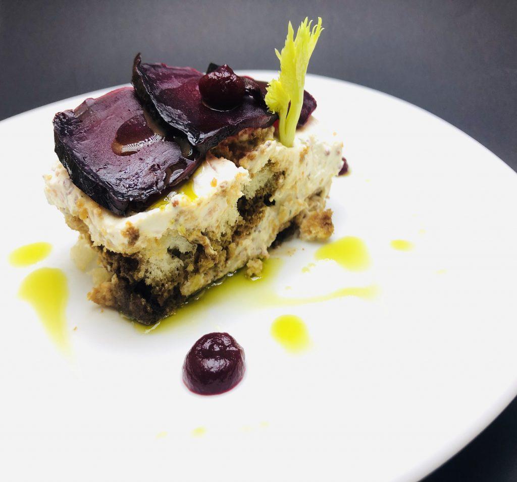 3. Salted tiramisu with smoked salmon and marinated beets.