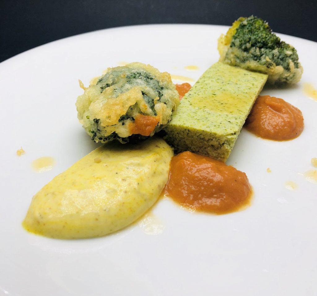 3. Текстура от броколи - запечен брокол в темпура и флан от брокола.