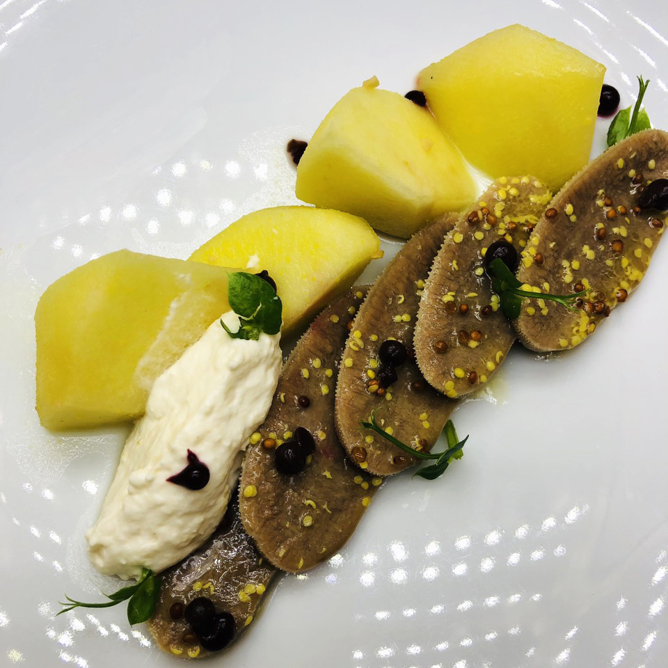 2. Beef tongue with whole grain mustard, beetroot caviar, pickled apples and cream from horseradish and honey