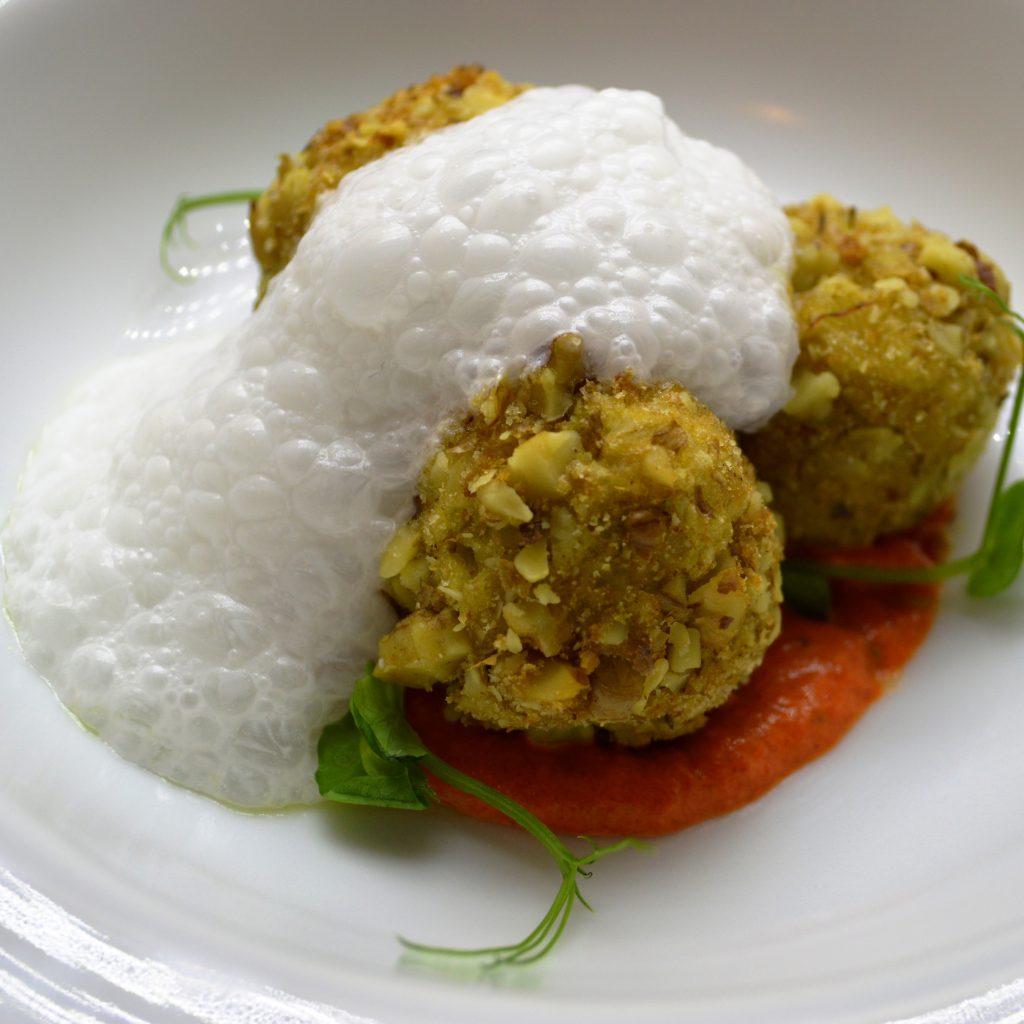 3. Chickpea meatballs in a walnut breading in a baked pepper emulsion and yoghurt foam