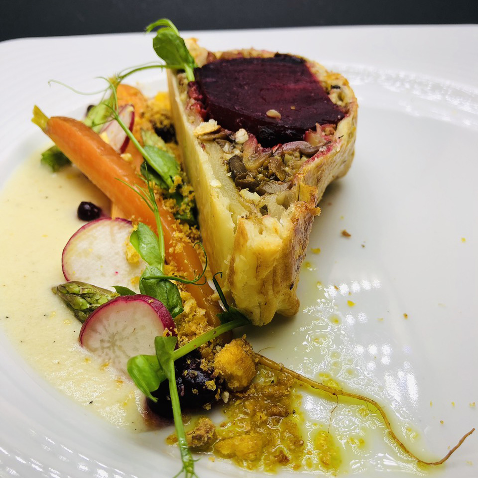 4. Steak Wellington with beetroot, puff pastry, forrest mushrooms mix, asparagus and fresh vegetables