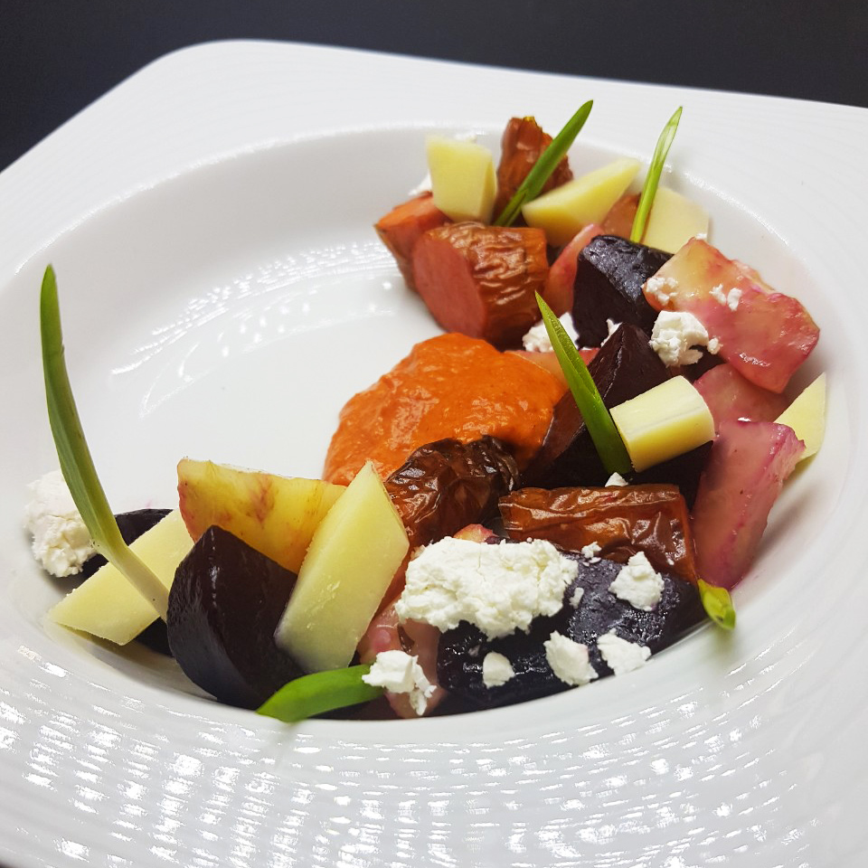 2. Marinated roasted carrots, kohlrabi and beetroot, combined with Bulgarian sheep yellow cheese and goat cheese.