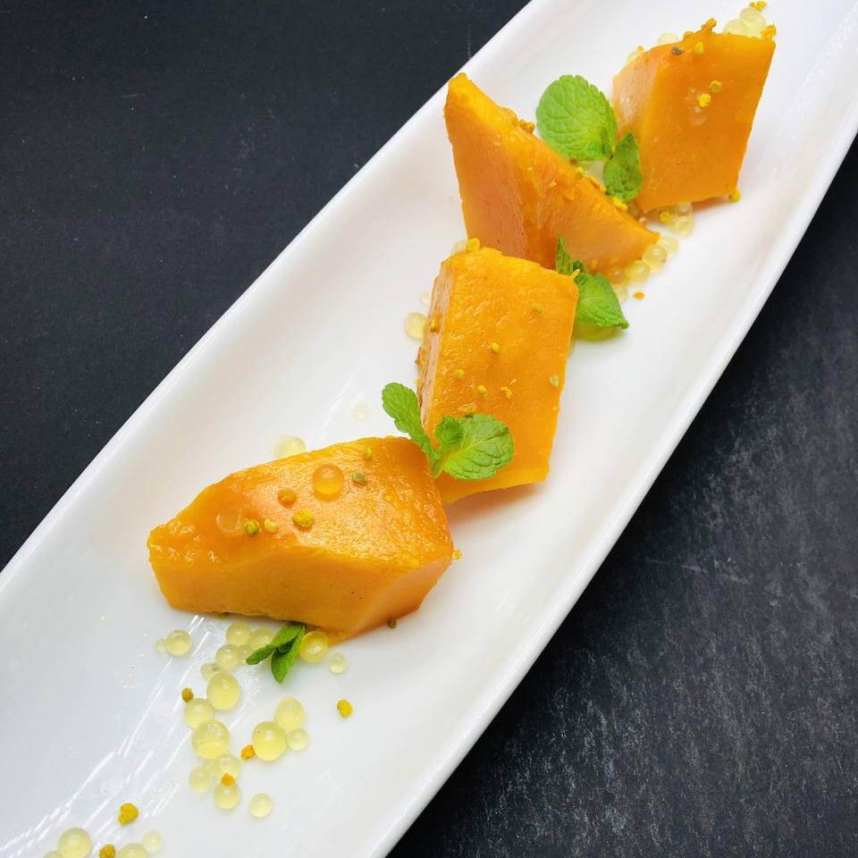 5. Roasted pumpkin with honey beads and bee pollen.