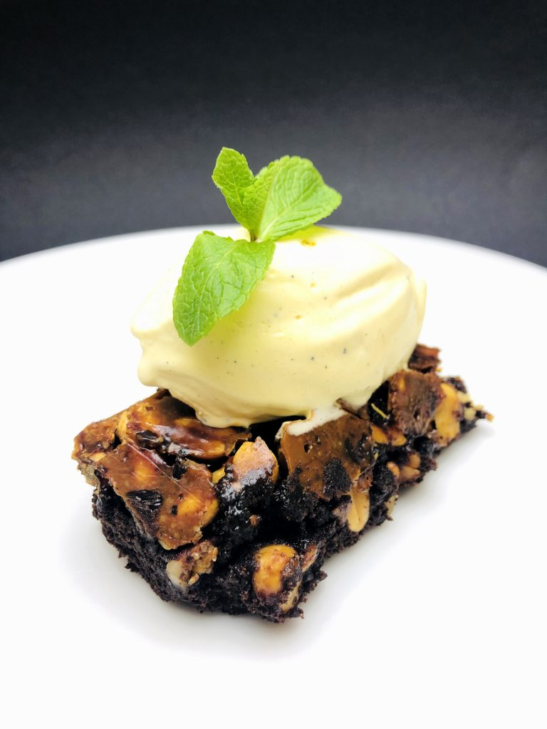 5. Brownie with dark Belgium chocolate, three kinds of roasted nuts, salted caramel and ice cream with Bourbon vanilla.