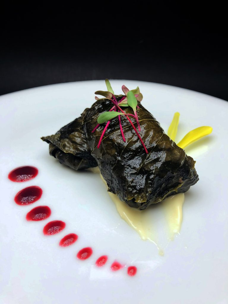 1. Stuffed grape leaves with rice, veal, cranberries and fillet almonds, on a basis of garlic mayonnaise