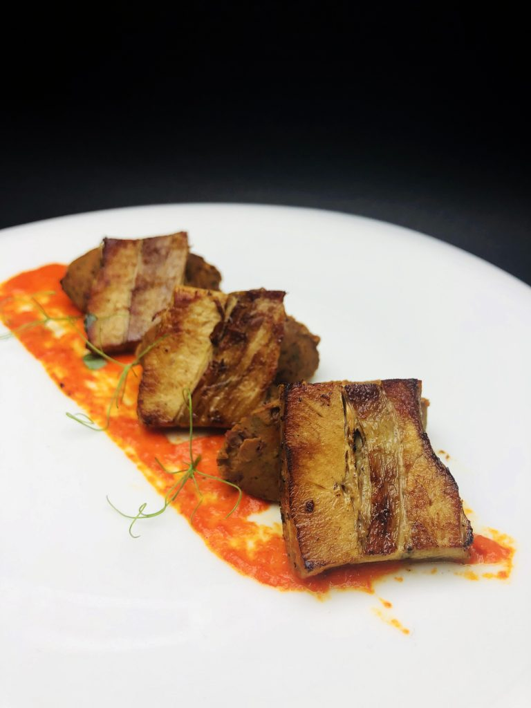 3. Pork belly with mousse from 3 kinds of beans and muslin of roasted peppers.