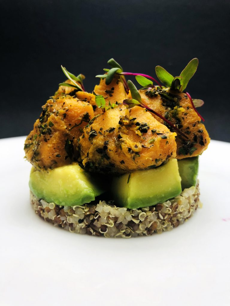 4. Timbale from two types of quinoa - red and white, marinated avocado and baked sweet potato with a bouquet of herbs and coconut milk