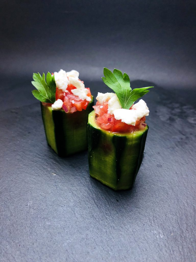 1. Crunchy cucumber logs filled red pepper, pink tomato, onion, farmed cow cheese and parsley