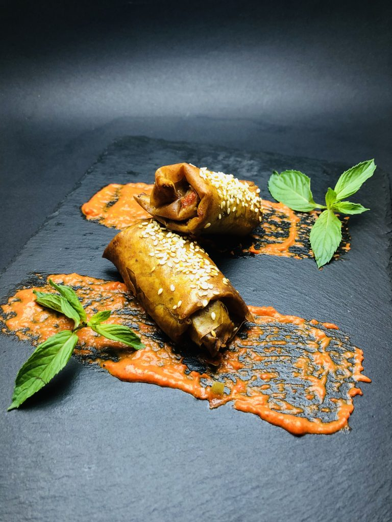 3. Crispy pastry with chopped beef stuffing, mushrooms and roasted peppers cream
