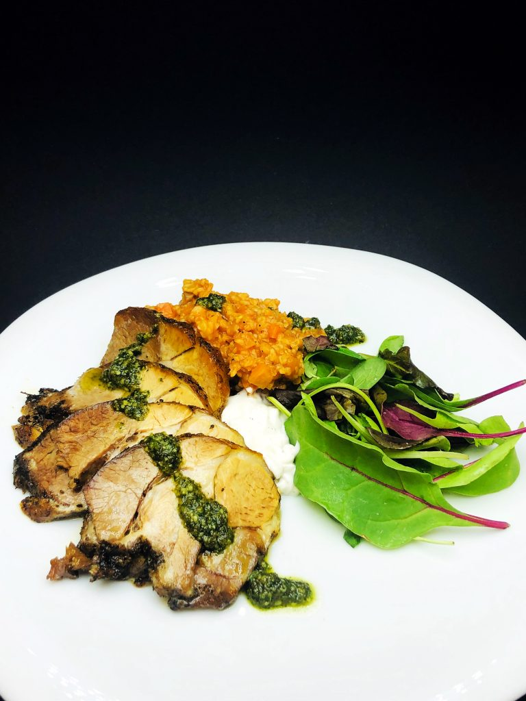 4. Traditional roasted lamb with bulgur, mushrooms, a mix of fresh baby salats with mint pesto and buffalo yoghurt