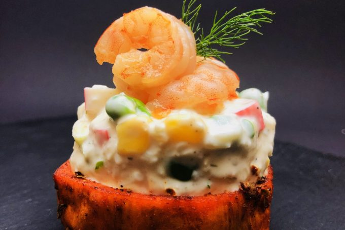 2. Surimi (combination of crab and shrimp) with homemade mayonnaise with lime, on a baked sweet potato base.