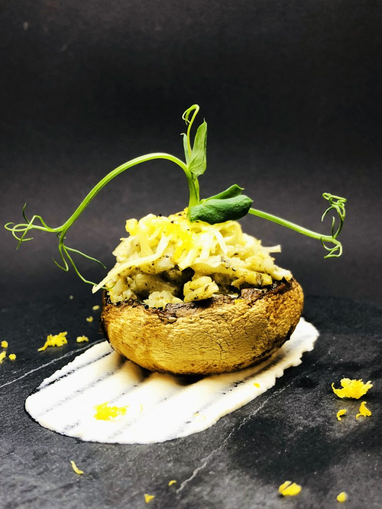 1. Stuffed royal mushroom with nettle risotto, cashew cream and vegan yellow cheese.