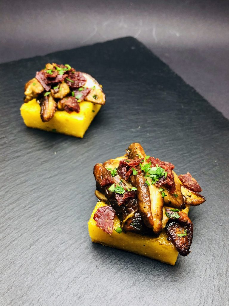 2. Baked polenta with mushrooms and traditional Bulgarian meat chips.