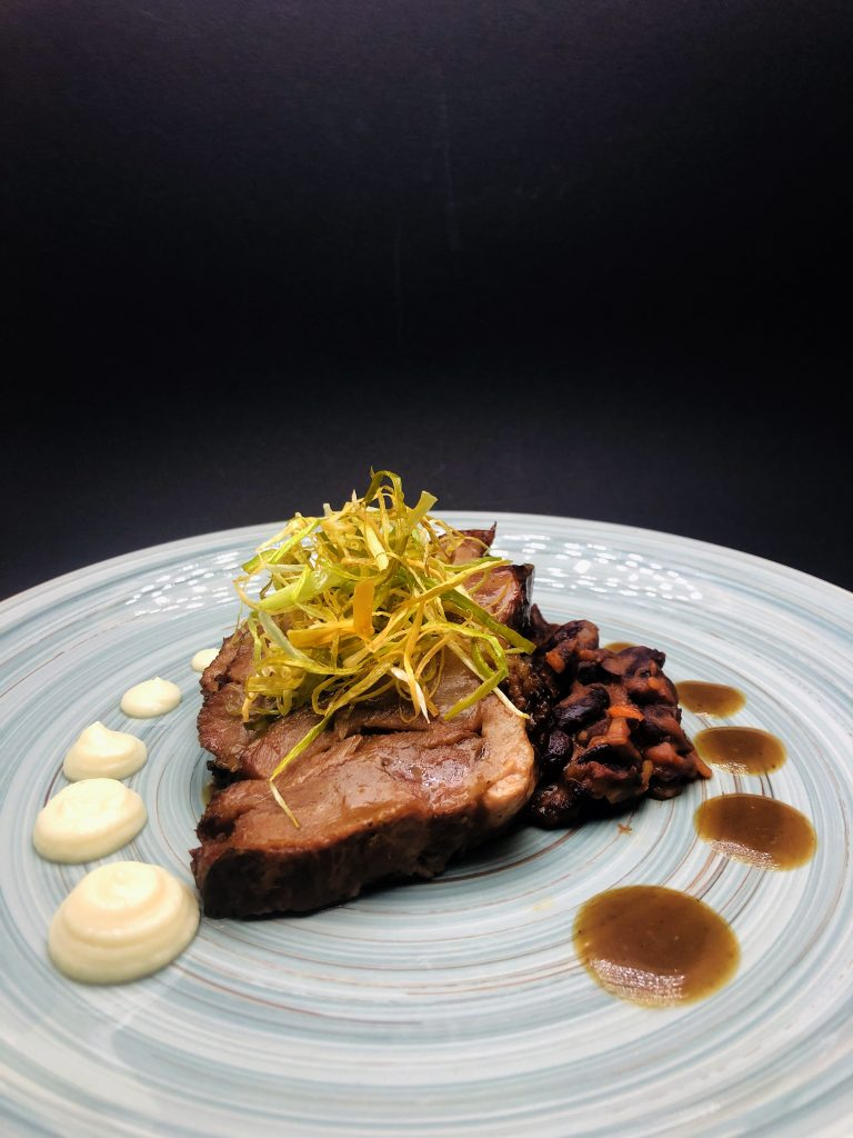 4. Бlack angus beef cheeks in combination with three different types of beans, yellow turnip and celery puree and Glarus porter sauce - dark beer.