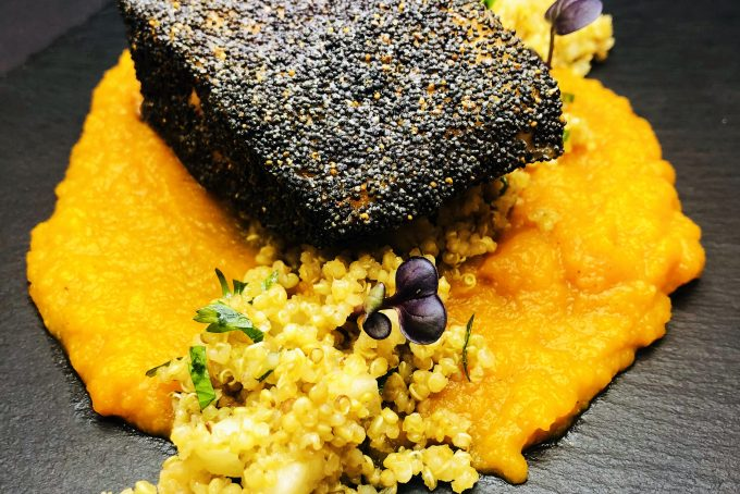 4. Salmon fillet with poppy seeds crust, with pumpkin puree garam masala and with fresh pear and quinoa salad.