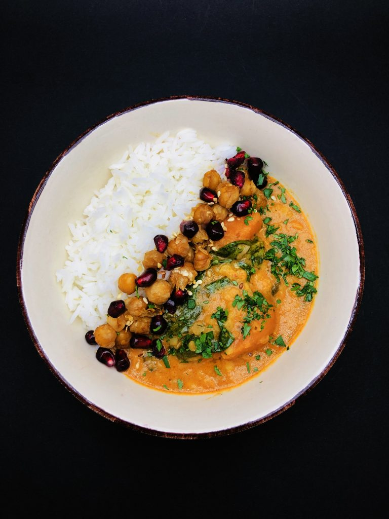 4. Buddha bowl - curry with basmati rice, crispy chickpeas and pomegranate.