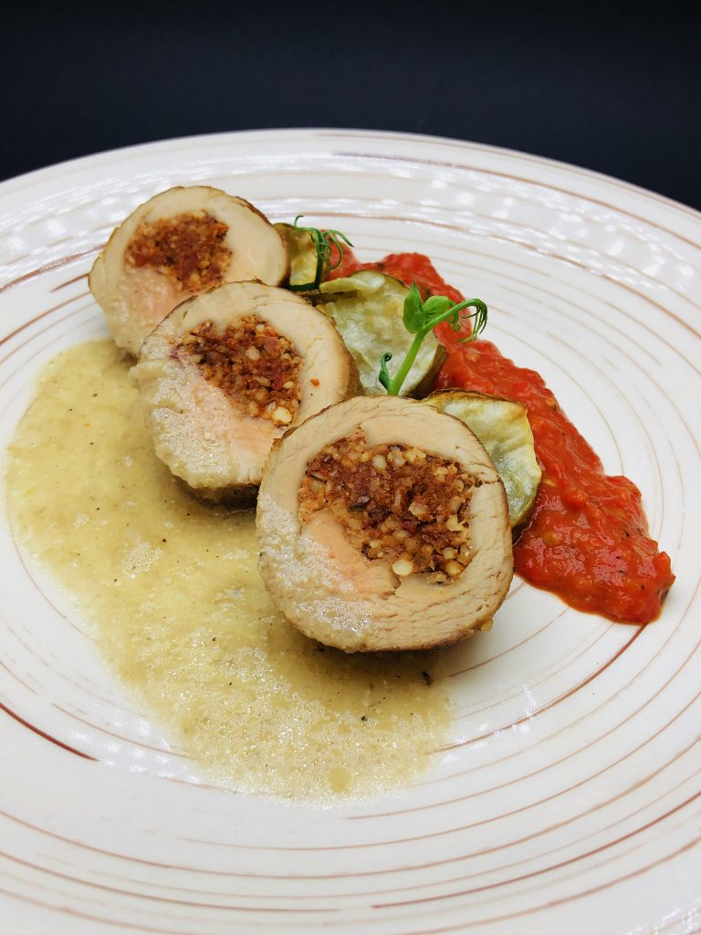 4. Stuffed pork tenderloin with dried tomatoes and almonds, white truffle sauce, roasted earth apple/Jerusalem artichoke and homemade mousse of roasted tomatoes анд peppers.