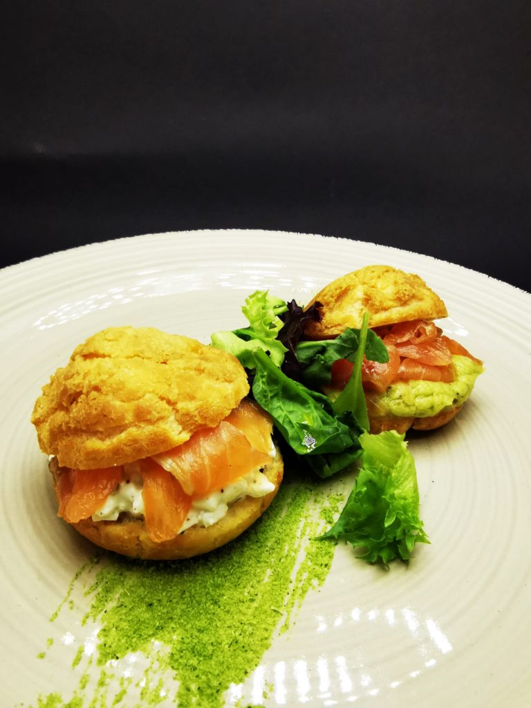 2. Handmade profiteroles with craqueline and homemade gravlax - with avocado mousse and with cottage cheese, dill and lime.
