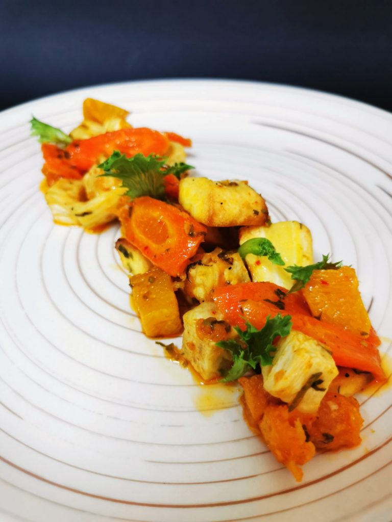 Root salad - pumpkin, parsnips, carrots and celery, with Ayurvedic type dressing.