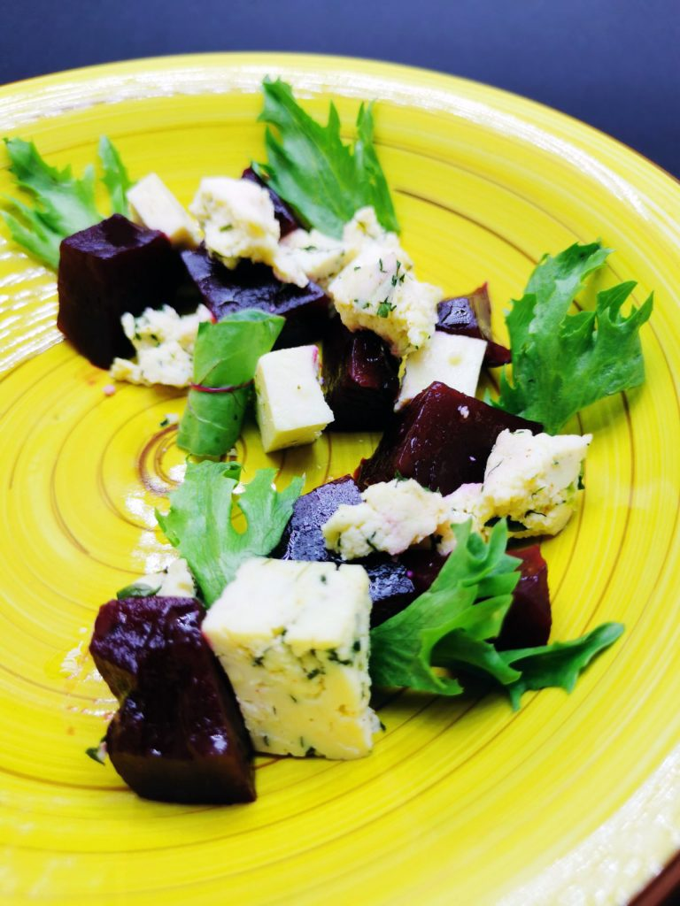 """2. """"Chekane"""" with home-made fresh cheese with spices and fresh salads."""