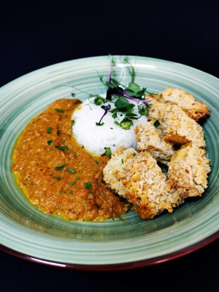4. Breaded katsu tofu with aromatic spices with curry madras, garam masala and basmati rice with edamame.