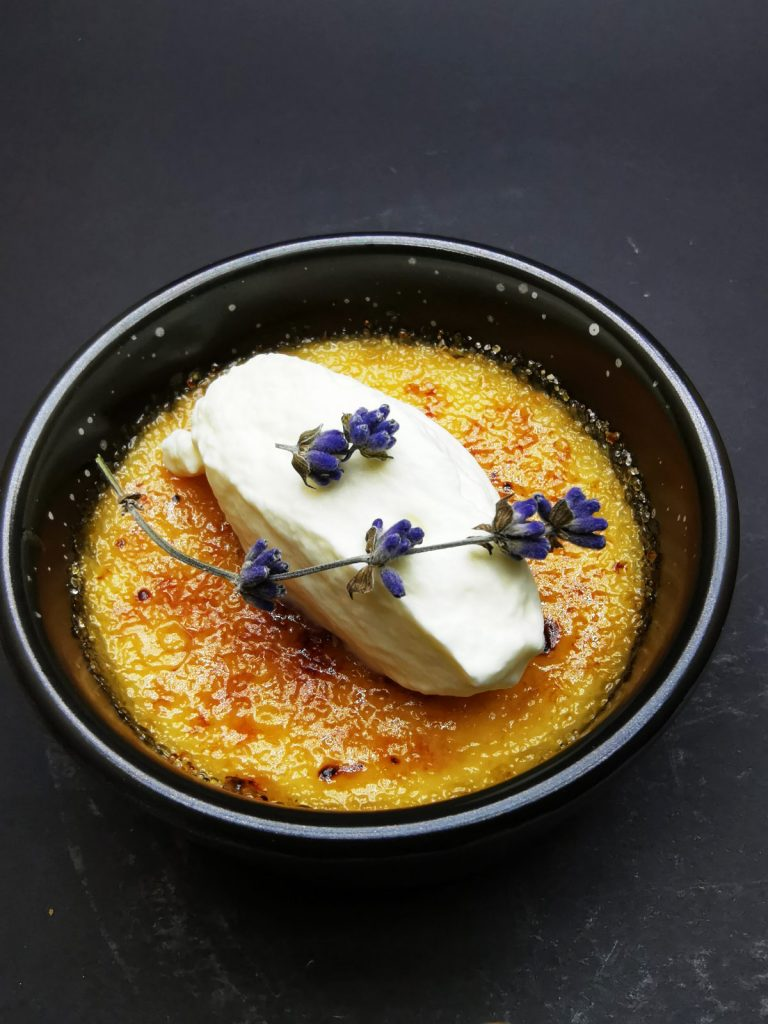 5. Lavender brulee with unrefined cane sugar, dehydrated lavender blossom and Chantilly cream.