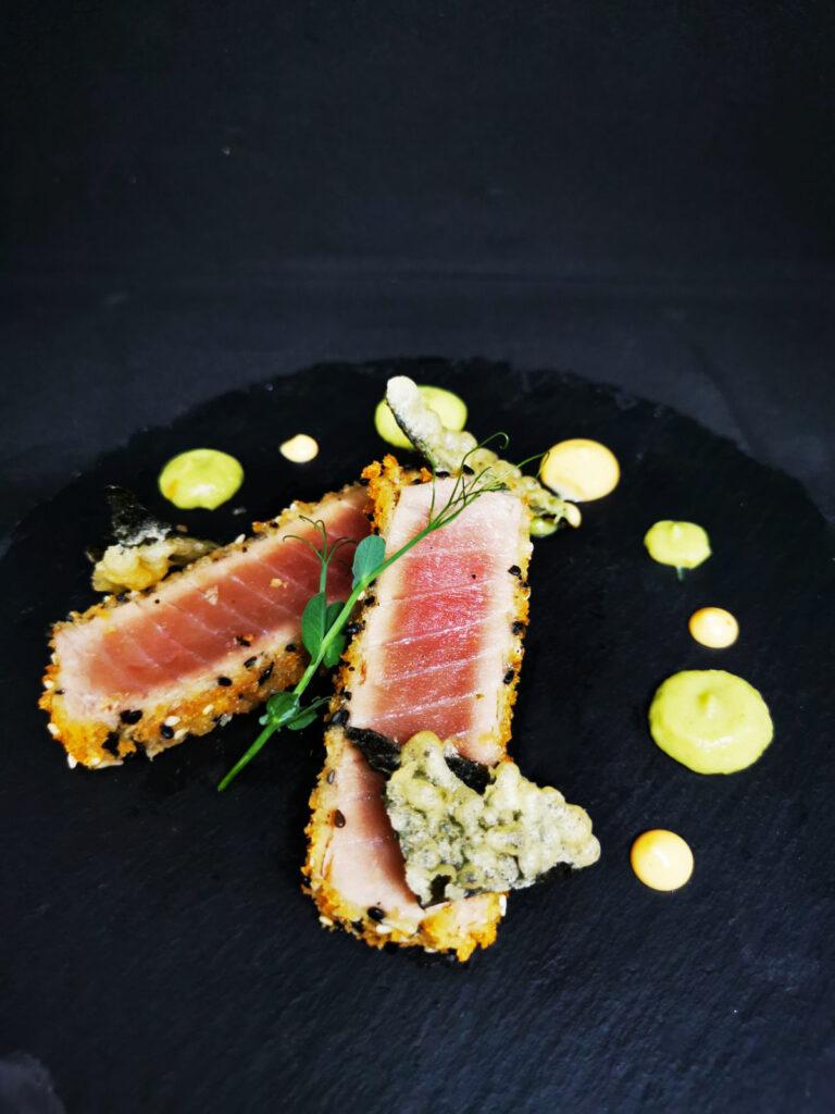 2. Katsu tuna in a panko crust with white and black sesame, avocado and wasabi mousse and nori tempura.