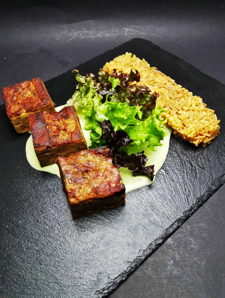 4. Slow roasted lamb with bulgur pilaf, baby salads and yogurt sauce.