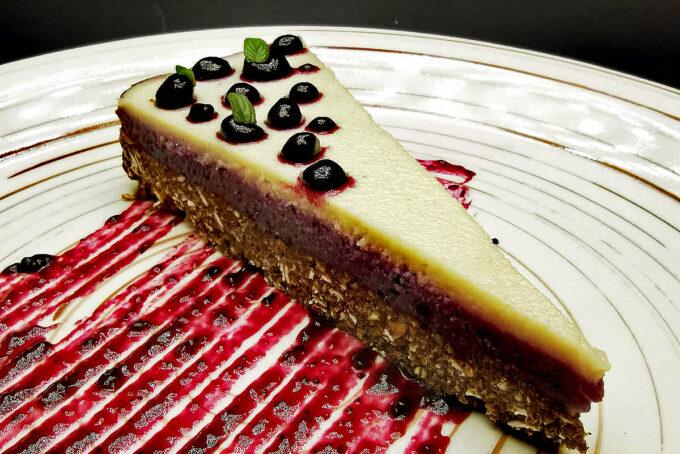 5. Vegan cheesecake with almond flour, dates, cashew cream and blueberry jam.